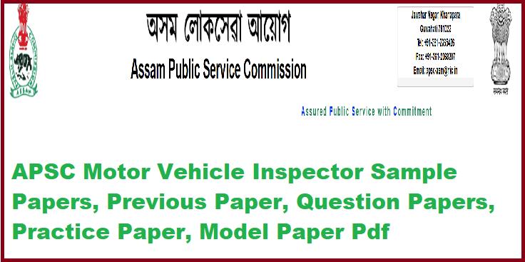 APSC Motor Vehicle Inspector Sample Papers