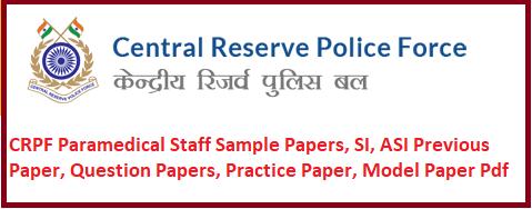 CRPF Paramedical Staff Sample Papers